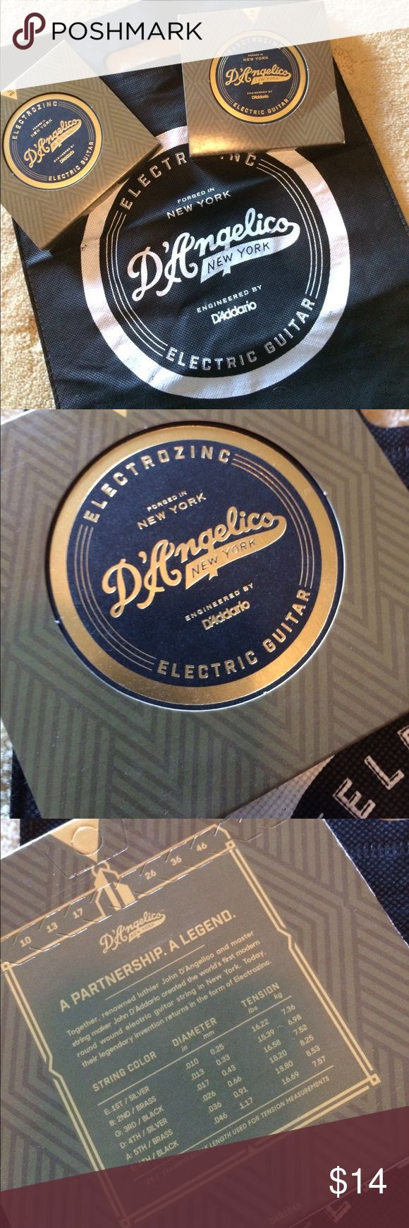 D'Angelico Guitar Bundle. 2 Packs strings/Swag Bag D'Angelico Guitar Bundle. NWOT 2 Packs Of electric guitar strings in Swag Bag. Great Gift for the guitarist in your life. D'Angelico Accessories