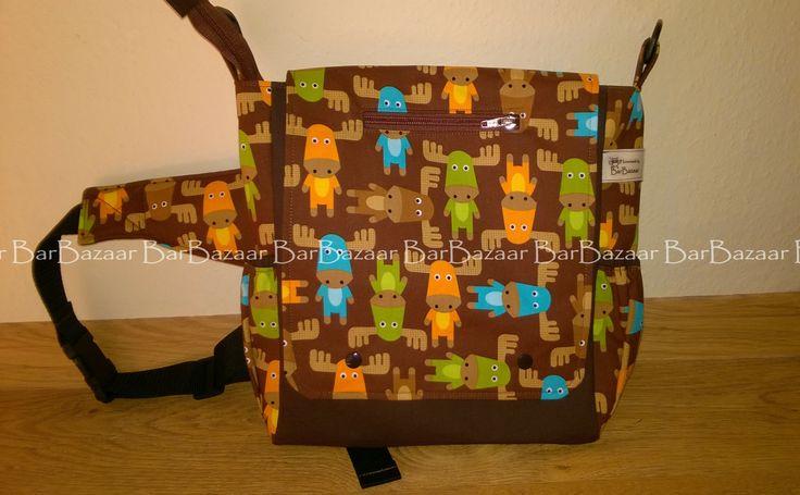 Cute reindeers on a 2in1 bag for baby carrying (belt bag or shoulder bag).