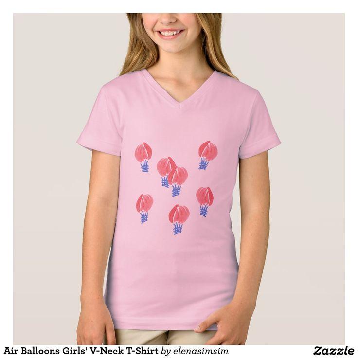 Air Balloons Girls' V-Neck T-Shirt