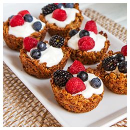 Gluten Free Fruit and Yogurt Granola Cups - #WhatTheHackDesserts, Breakfast Brunches, Gluten Fre Fruit, Granola Cups, Anytime Snacks, Sweets Treats, Gluten Free, Breakfast Recipe, Yogurt Granola