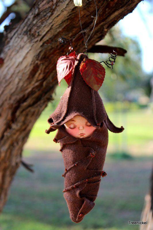 My fairy baby: Sleeping Fairy Baby Fabric and Felt Art Doll by Treenickel on Etsy, $23.00