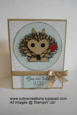handmade card with a punch art hedgehog ... heart face ... twiggy tree die cut fur over an oval body ... clever!