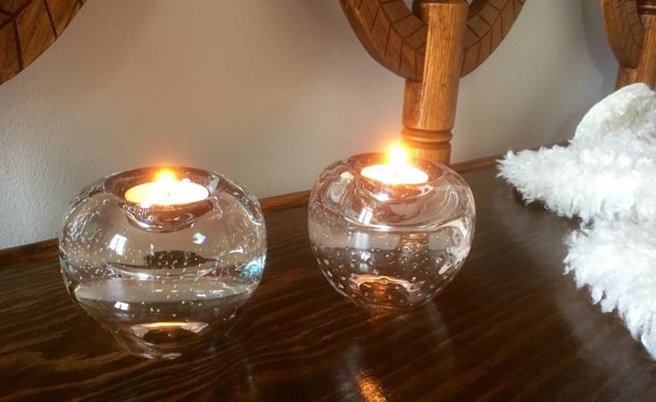 SEA Glass/candle holders/Renate Stock/crystal/scandinavian/candle/warmers/votives/ by WifinpoofVintage on Etsy