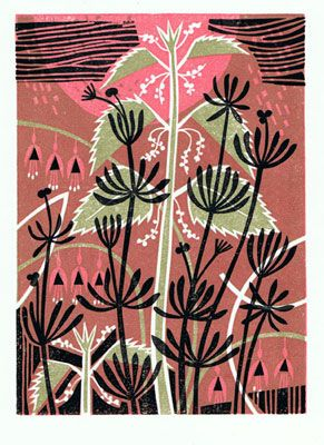 Nettles and Cleavers, limited edition lino print by Clare Curtis