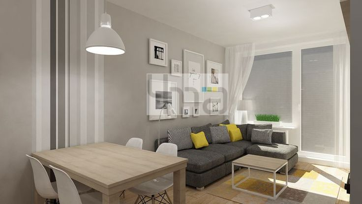 Dwupokojowe mieszkanie 48 m2 zaprojektowane dla młodej pary - http://4ma-projekt.pl Biało-szara kolorystyka z elementami jasnego drewna. Salon, jadalnia.