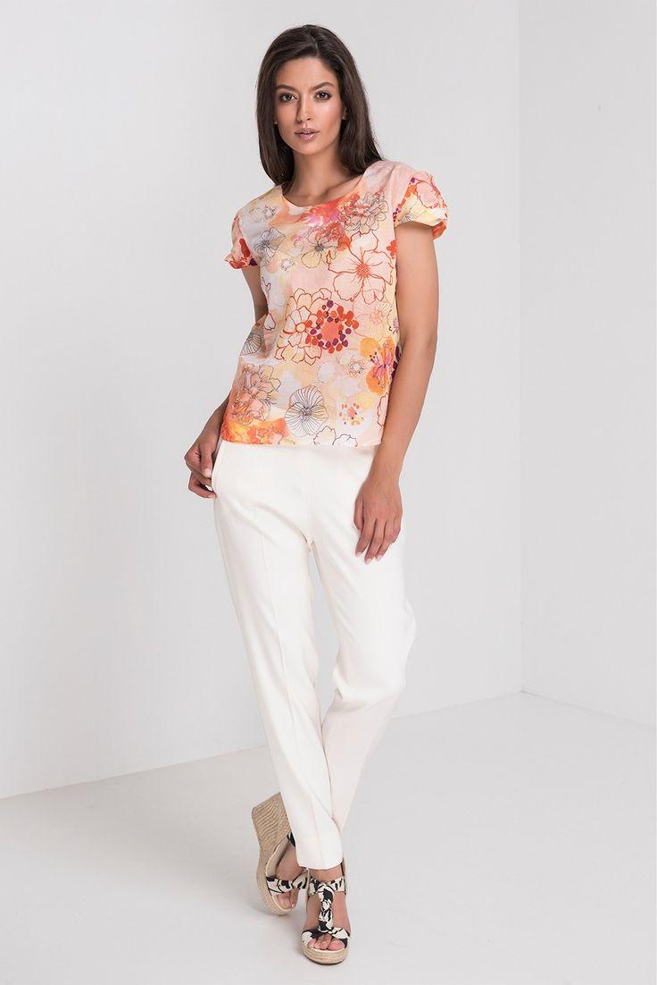 Camasa Lina mov - Camasa cu imprimeu floral mov-oranj
