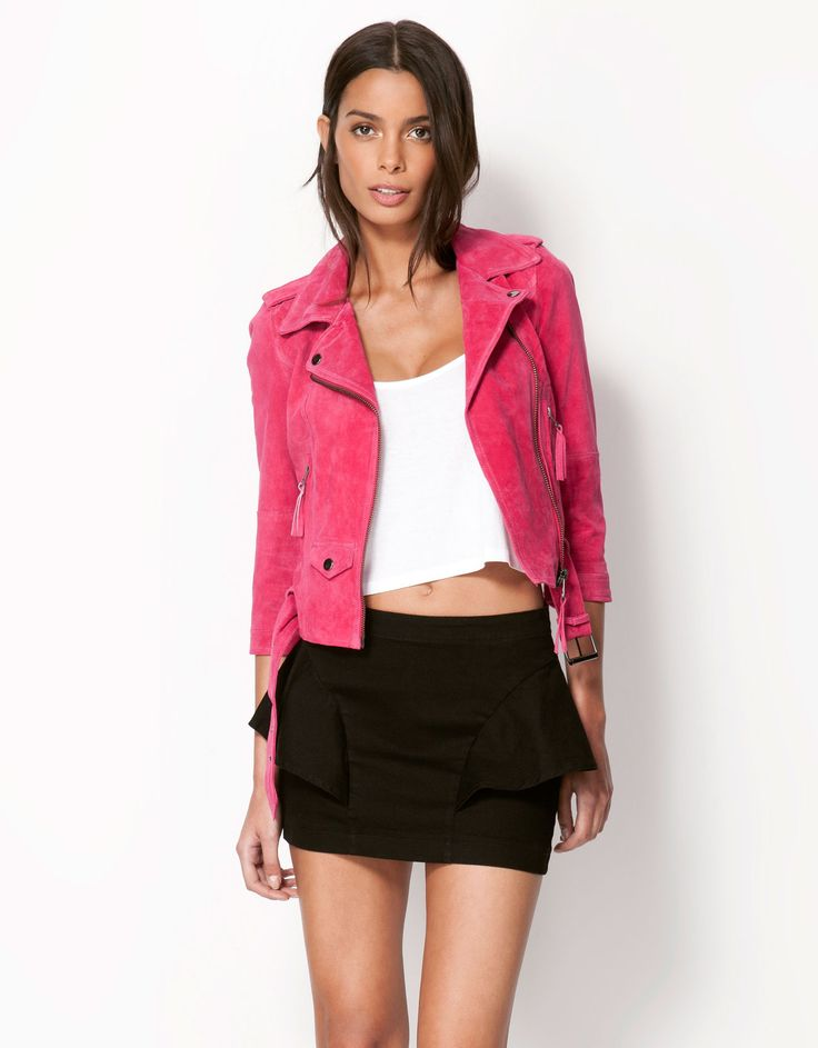 Bershka Belgium - Bershka LEATHER & suede jacket