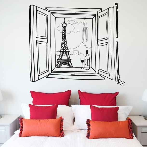 Paris Window Wall Sticker//