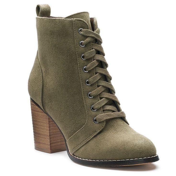 Candie's® Couture Women's Block Heel Ankle Boots, Teens, Size: medium (8.5), Green