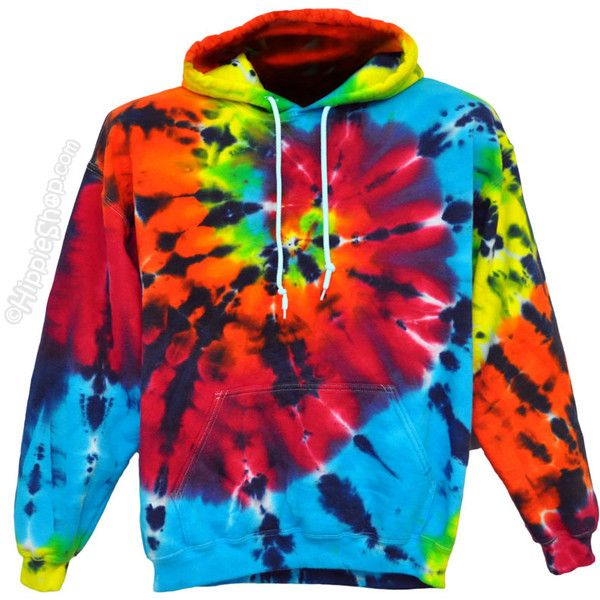Tie Dye Rainbow Shooter Hoodie on Sale for $47.95 at The Hippie Shop ($48) ❤ liked on Polyvore featuring tops, hoodies, jackets, sweaters, shirts, pullover hoodie, black hoodie, hippie shirt, black tie dye shirt and sweat shirts