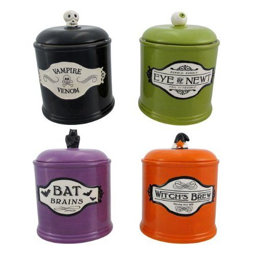 Amazon Com Set Of 4 Halloween Themed Canisters Cookie