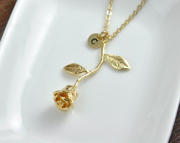 Gold Rose Necklace, Beauty and the Beast Rose pendant Necklace, Anniversary Gift, Personalized Bridesmaid gift, Initial Necklace by InitialFashion on Etsy https://www.etsy.com/listing/294666871/gold-rose-necklace-beauty-and-the-beast