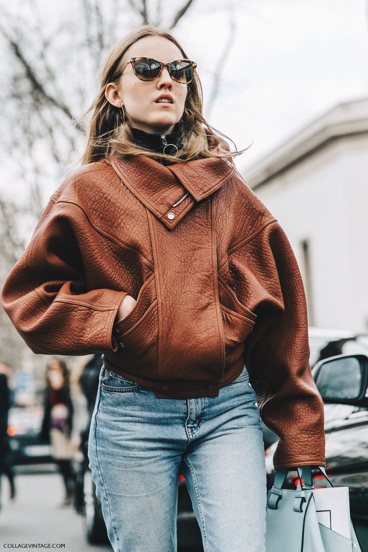 Paris Fashion Week Autumn 2016.. Alexandra Carl, Loewe Leather Jacket.