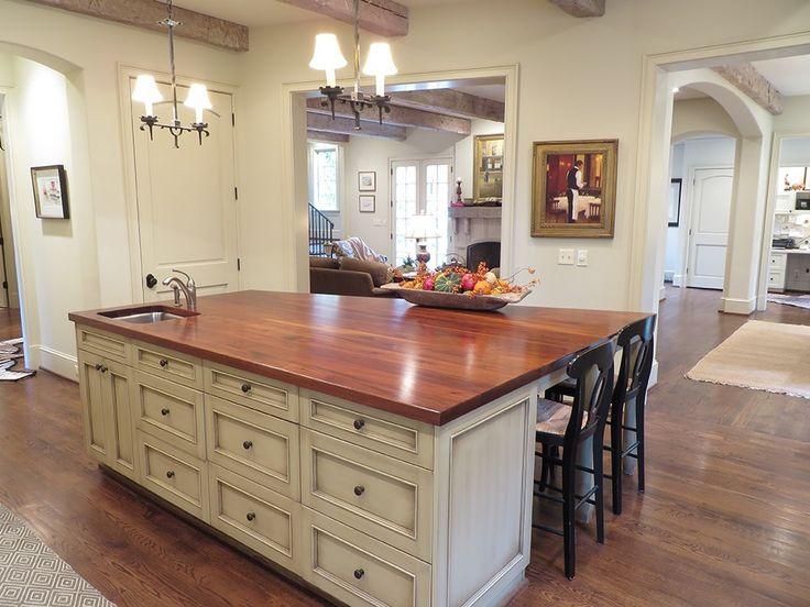 Panel Ready Refrigerator with Single-wall Layout Exposed Wood Beams Dark Flooring Craftsman Style