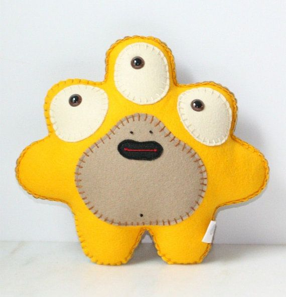 From saumansmith Etsy store Stuffed Monster Plush Felt Monster Plush Alien by saumansmith, $26.00
