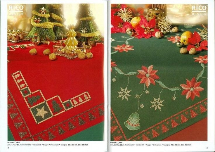 Navidad manteles cenefas y pie de arbol punto en cruz - Manteles para navidad ...