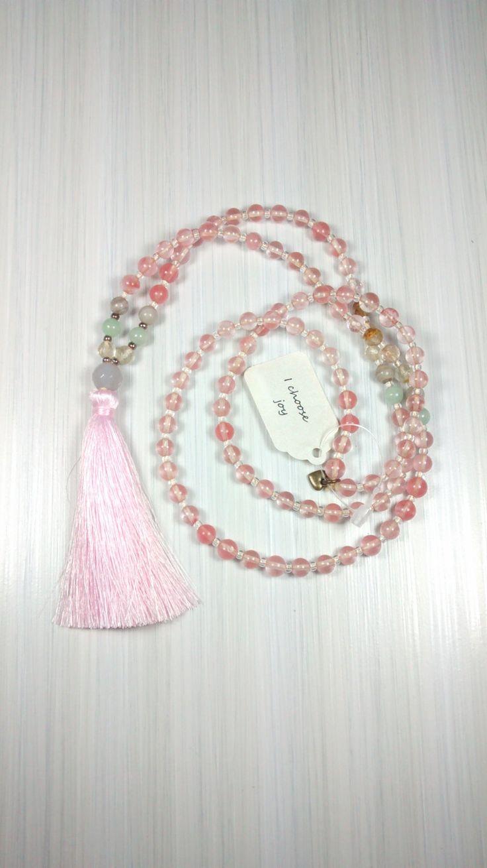 I Choose Joy. 108 bead Mala made with Cherry Quartz, Silk, Amazonite, Jasper & Tiger Eye. Live Joyfully. by pinksunmalas on Etsy