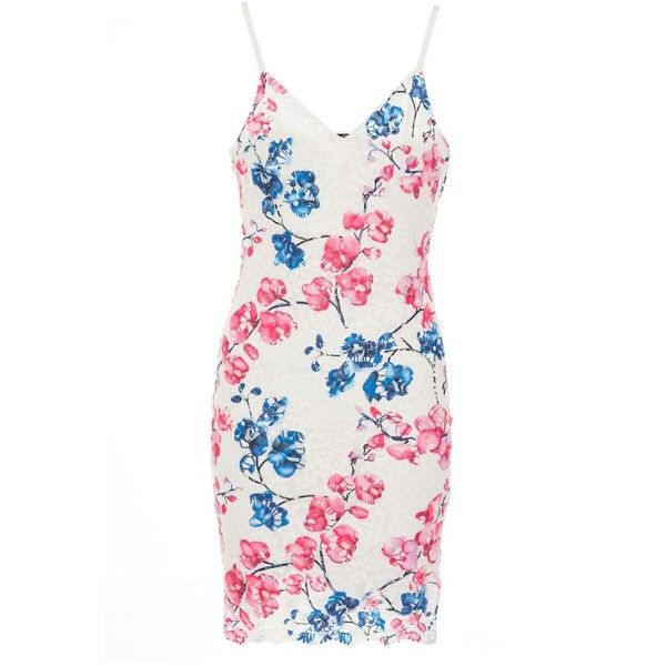 Blue And Pink Floral Crochet Bodycon Dress ($49) ❤ liked on Polyvore featuring dresses, blue floral dress, white crochet dress, white floral dress, white bodycon dresses and white dress