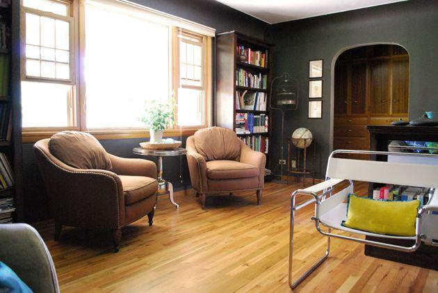 #Black #Charcoal walls, natural wood trim and wood floors.