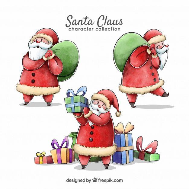Several characters of watercolor santa claus  Free Vector
