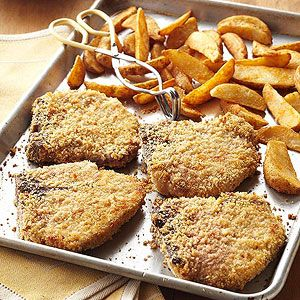 Oven-Fried Pork Chops Coating the chops with corn bread stuffing mix gives them a delightful crispy crust, which keeps them juicy and moist inside.