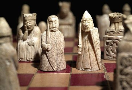 These 82 chess pieces were carved (rather marvellously) from walrus ivory and whale tooth in the late 12th-century, and found on a beach on the windswept Isle of Lewis, in the Outer Hebrides, in 1831. The pieces represent the highest classes of society and may well have been made for a medieval Norwegian king, as a symbolic display of his sovereign power (the Isle of Lewis then being part of the Kingdom of Norway).