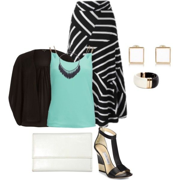 A fashion look from February 2015 featuring black kimono top, mint green tank top and plus size skirts. Browse and shop related looks.