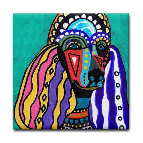 4x4 Standard Poodle Art Tile Ceramic Coaster by HeatherGallerArt, $20 ...