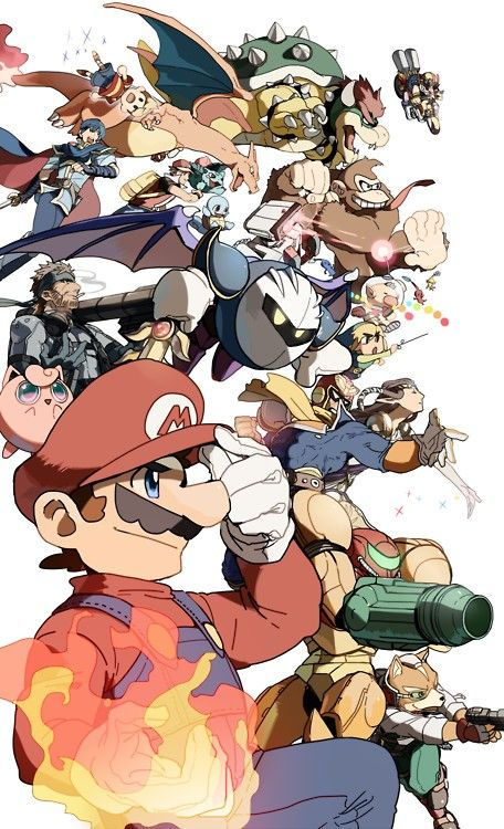Mario's Smash Bros. Team... Also the characters I use for Super Smash Brothers