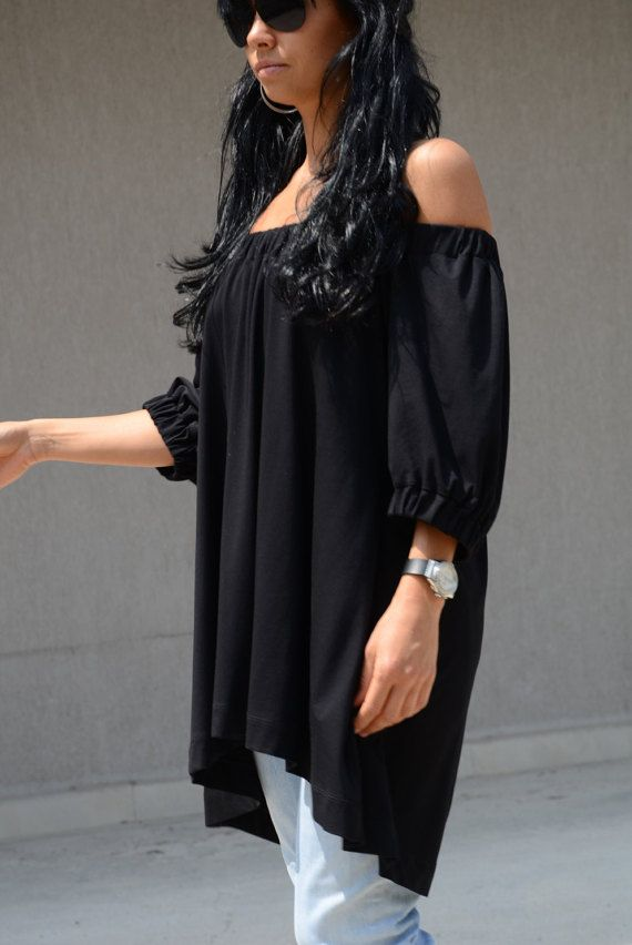 Black off shoulder top Black off shoulder blouse Black