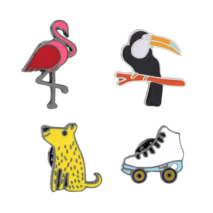 >> Click to Buy <<  Korean Skating accessories Cartoon Jacket Jeans Hat Bag Accessories flamingo bag Tree Branches Bird Puppy  Brooch #Affiliate