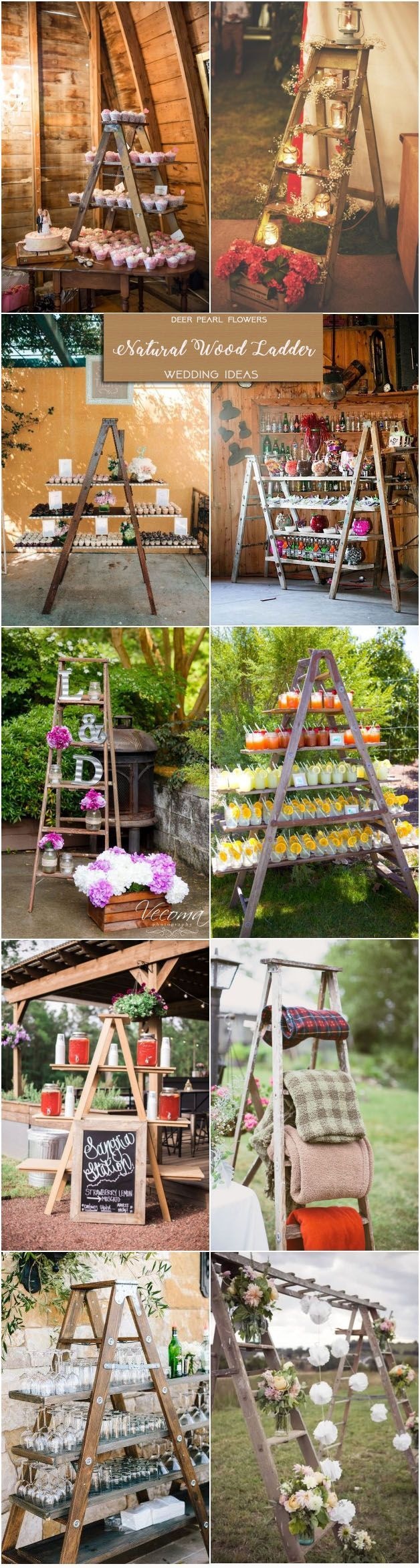 Rustic wedding ideas- natural wood ladder wedding decor ideas / http://www.deerpearlflowers.com/rustic-wedding-themes-ideas-part-2/