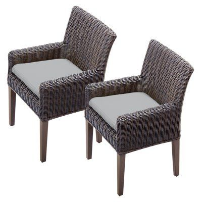 TK Classics Venice Outdoor Dining Chair - Set of 2 with 4 Cushion Covers Gray / Wheat - TKC099B-DC-C-GREY