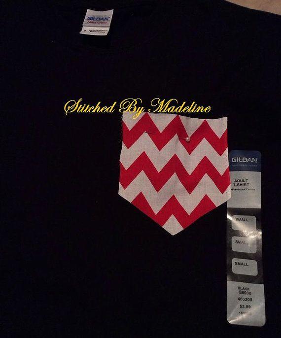 Red/White Chevron Pocket Shirt on Etsy, $12.00