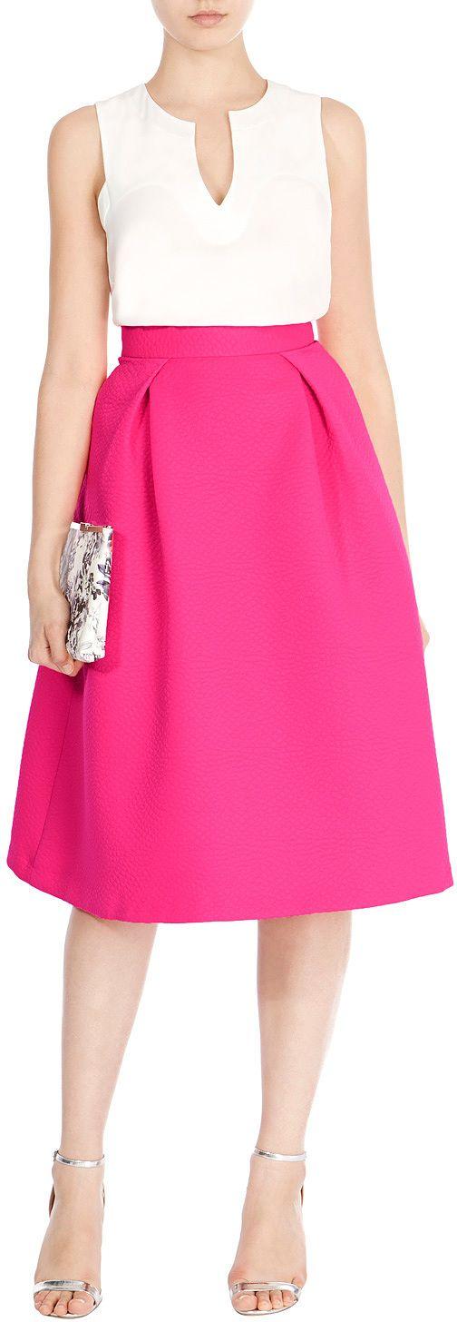 Womens cerise tay textured skirt from Coast - £59 at ClothingByColour.com