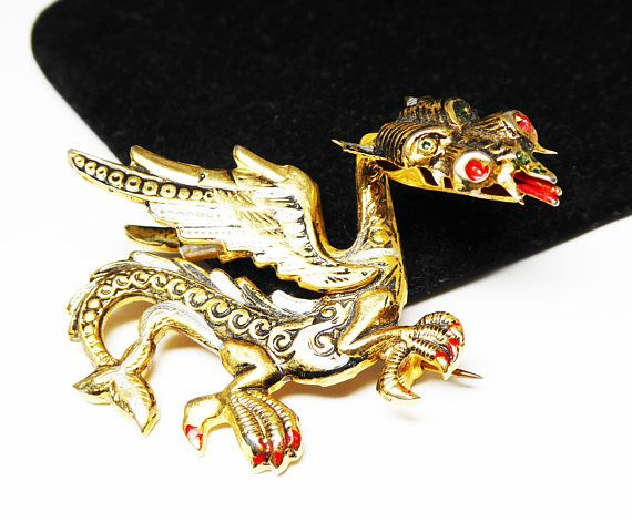 New Listings Daily - Follow Us for UpDates -  Description & Style: Damascene Fire Breathing Dragon Pin - Chinese Mystical Dragon Brooch - Gold & Black Red - #Vintage 1960s - signed SPAIN - European #Jewelry offered by Th... #vintage #jewelry #teamlove #etsyretwt #ecochic #thejewelseeker