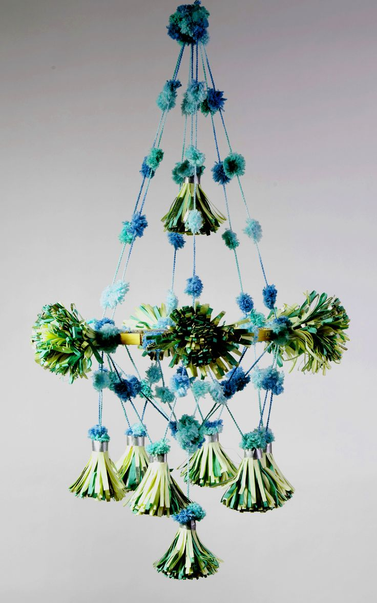 paper pouf chandelier. aqua pom pom