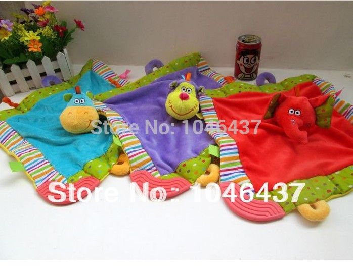 free shipping hot 1pc baby plush toy animals newborn teethers baby security blanket