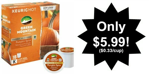 Green Mountain Pumpkin Spice K-Cups 18-Pack Only $5.99! ($0.33/k-cup)