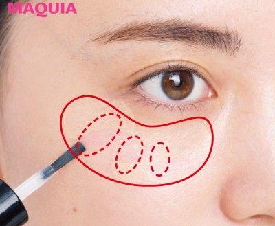 くすみ肌のカバー策★ベスト5】チークの前にプレチークを入れるetc ... 1下地を塗ったら、ファンデーションを伸ばす前に、目の下にリキッド状のチークをオン。
