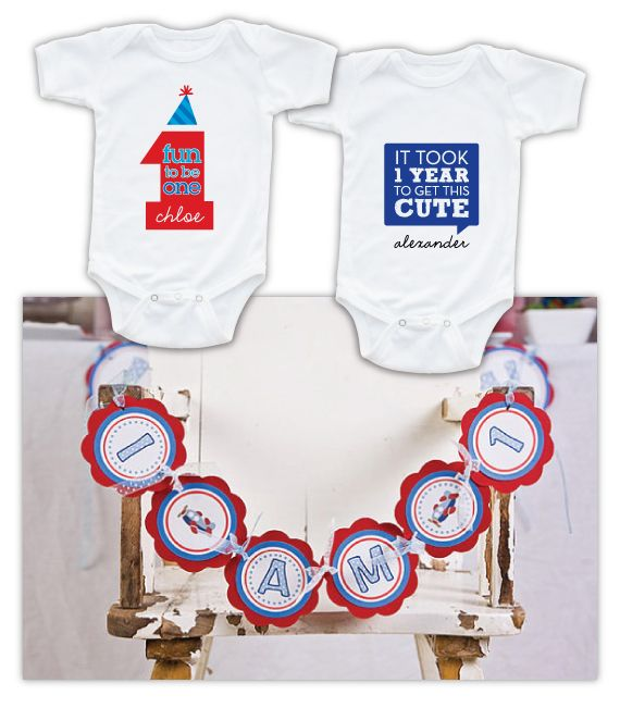 1st birthday, blue and red themes | ... birthday banner from Get the Party Started on Etsy and 1 st birthday