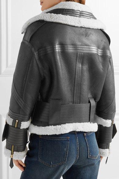 Burberry - Leather-trimmed Shearling Jacket - Black - UK
