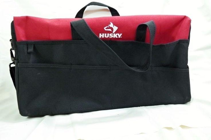 Red & Black Husky Tool Bag 20x10x6 Shoulder Strap & Carry Handle #Husky
