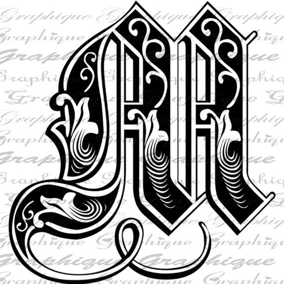LETTER Initial M Monogram Old ENGRAVING Style Type by Graphique