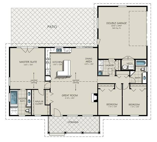 Ranch Style House Plan - 3 Beds 2 Baths 1924 Sq/Ft Plan #427-6 Main Floor Plan - Houseplans.com