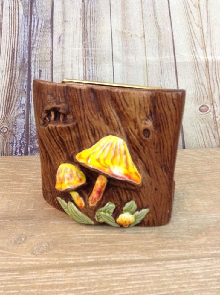 Treasure Craft CA USA Mushroom Napkin Holder Midcentury Modern 5 1/4' x 2 1/4""