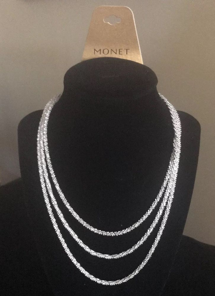 fb1246b8a8d03 Monet 3-Strand Silver Chain Necklace NWT And Signed Magnetic Clasp ...