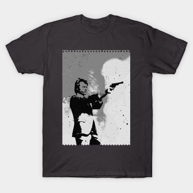 Clint tee by Fimbis on Teepublic     Clint Eastwood, Dirty Harry, 44 Magnum, grayscale, guns, 70s, 80s, movies, dad presents, gifts for him,