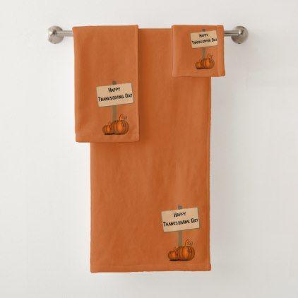 burnt orange happy thanksgiving bath towel set chic design idea diy elegant beautiful stylish modern - Burnt Orange Bath Set