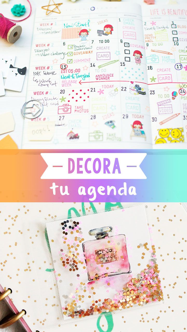 17 best images about craftingeek on pinterest glitter - Como decorar una agenda ...